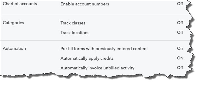 The  Advanced  page of QuickBooks Online's  Account and Settings  presents you with numerous options. You may want our help with this.