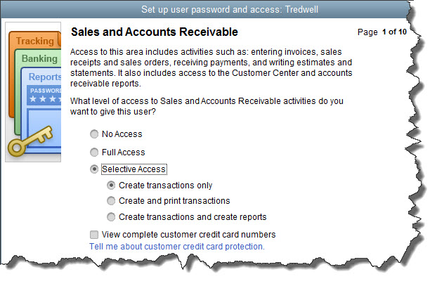 You can specify the access rights for individual employees in numerous areas.