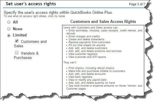 This screen in the mini-interview helps you restrict user access in  Sales  and  Purchase  areas.