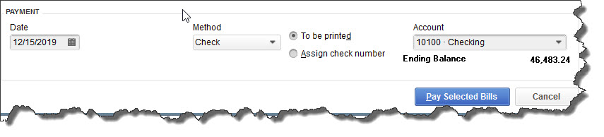 Once you've recorded a bill in  Enter Bills , you need to visit the  Pay Bills  screen to dispatch a check. The image above shows the bottom of that screen.