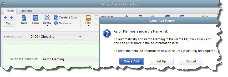 If you don't want to create an entire record for the payee   of a check, you can just click  Quick Add .