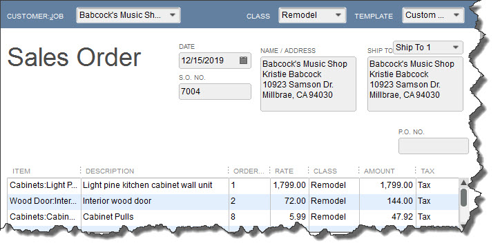 A sales order in QuickBooks looks much like an invoice.