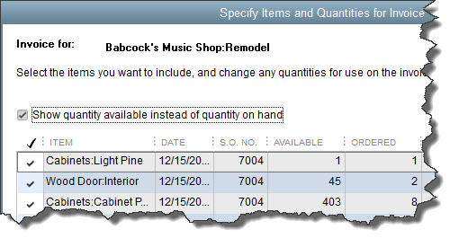 When you create an invoice from a sales order, you can select all the items                           ordered or a subset.