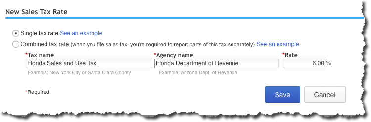 You can define either a  Single tax rate  or  Combined tax rate  in this window.