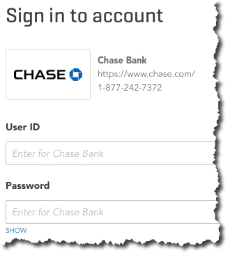All you need to do to start downloading transactions into QuickBooks Online is select your financial institution and enter the  User ID  and  Password  you use to connect directly to the site.