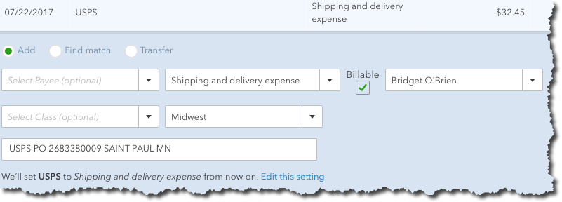 QuickBooks Online does more than simply download financial transactions: It lets you define them in greater detail.