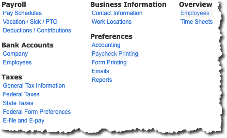 QuickBooks Online's  Payroll Settings  screen displays links to the pages where you'll manage your setup tasks.