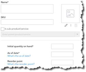 To create an  Inventory  item record in QuickBooks Online, you'll have to fill in several fields.
