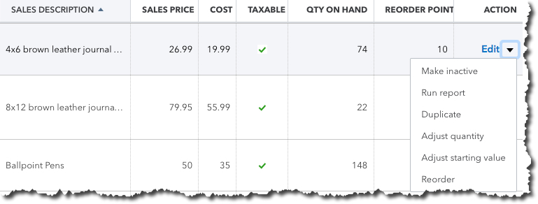Once you create a record for an item or service, it will appear in this table.