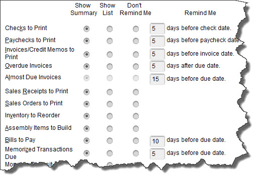 If you want    Reminders    for memorized transactions, you'll need to tell QuickBooks what your    Preferences    are.