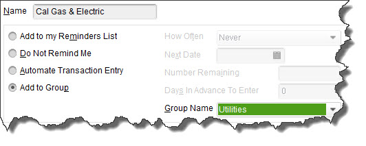 You can add memorized transactions to a    Group    and process them at the same time.