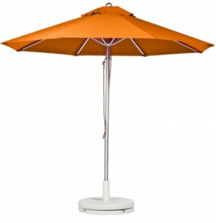 orange umbrella with white plastic stand