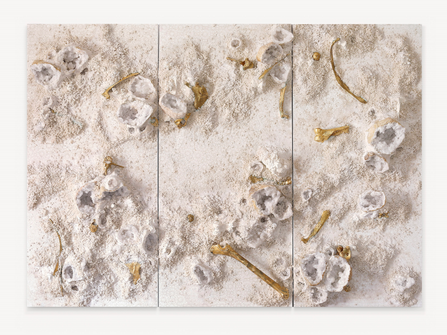 White and Gold Trio #1, 2017  acrylic paint, gold leaf, minerals, camel remains, salt and gravel on wood panel Triptych: 71.6 x 98 in | 182 x 249 cm