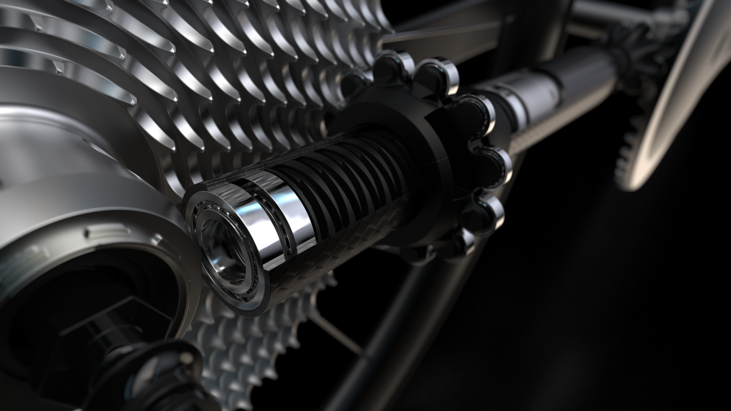 Detail of CeramicSpeed Driven drivetrain, showing internal mechanisms of rear pinion.