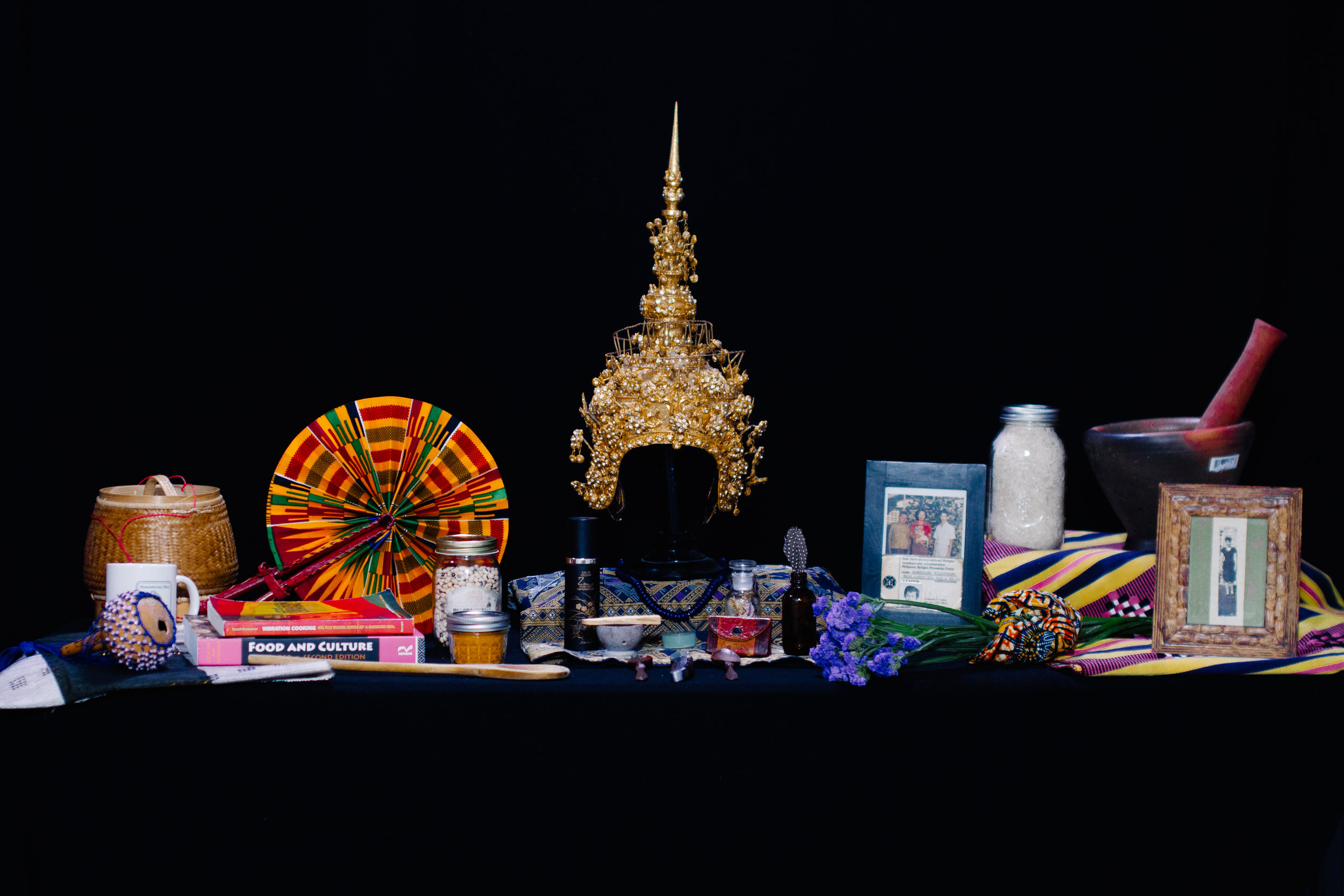 Altar of Survival.   Items provided by Catzie Vilayphonh, Saigay Sherriff, khaliah d. pitts + Shivon Love.  Photography by Rashid Zakat. Creative design by Shanti Mayers.