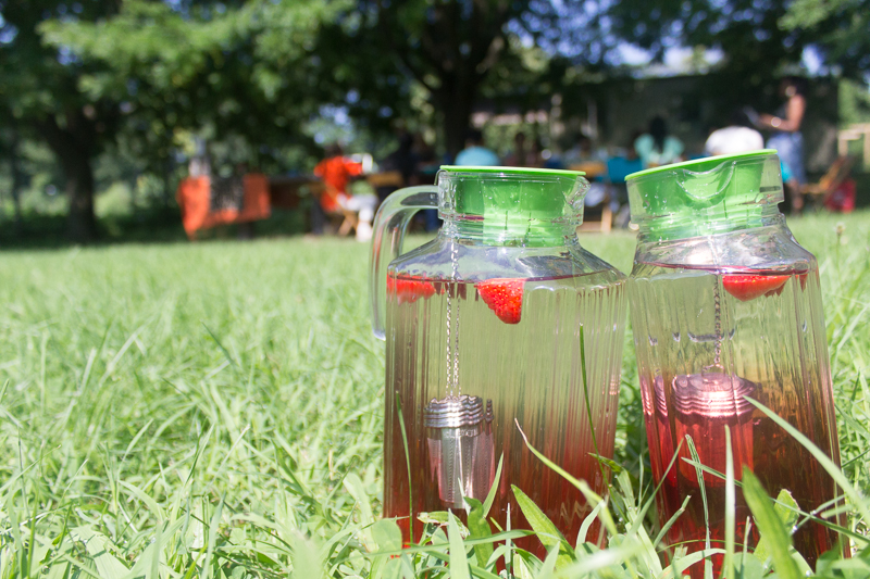 Making Hibiscus Sun Tea w/ Strawberry + Ginger Our Mothers' Kitchens 2018 Summer Workshop for Black Girls  Photo by Gabrielle Clark