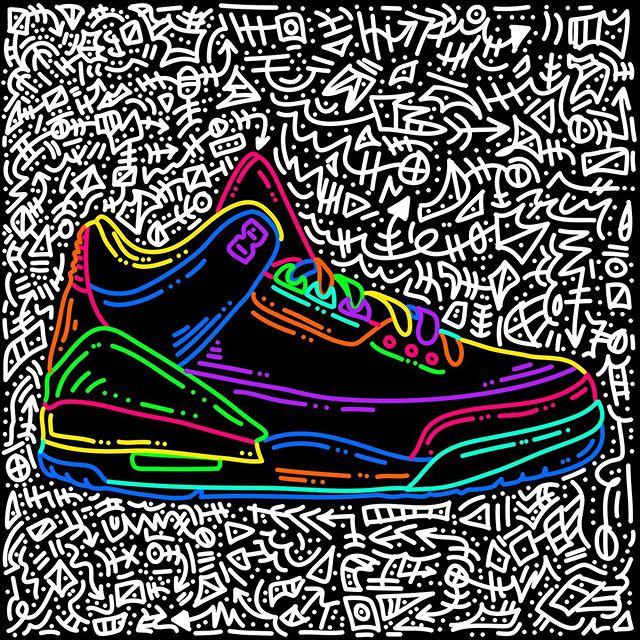 Jordan 3 // Doodles included. #jordans #airjordan #nike #sneakerhead #drawing #neonseries