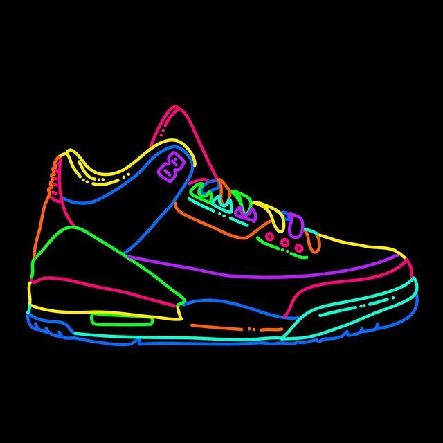 Jordan 3 // 1988. #jordans #airjordan #nike #sneakerhead #drawing #neonseries