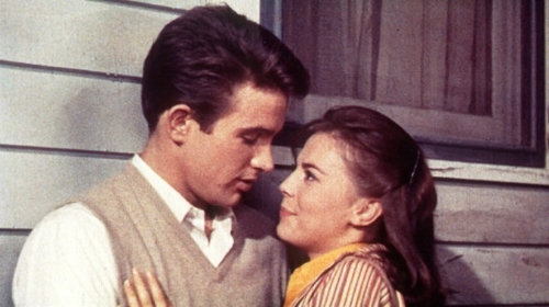 "Warren Beatty with Natalie Wood in Elia Kazan's ""Splendor in the Grass."""