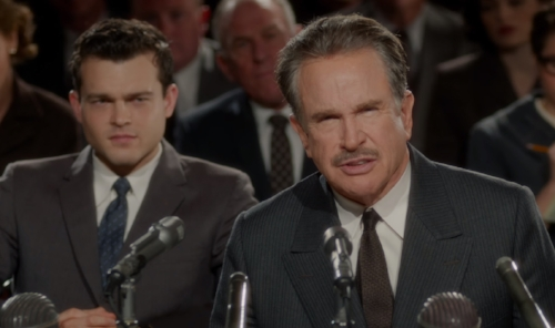 """Alden Ehrenreich with Beatty in """"Rules Don't Apply."""""""