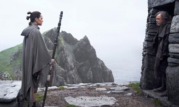 Master and servant: Rey (Daisy Ridley) comes for Luke's guidance.