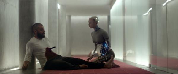"The new Eve (Alicia Vikander) deposes its Maker (Oscar Isaac): Alex Garland's ""Ex Machina."""
