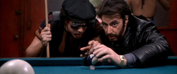 """""""This shot will make you change your religious beliefs."""" Carlito's orchestration on the pool-table doubles for director De Palma staging the action"""