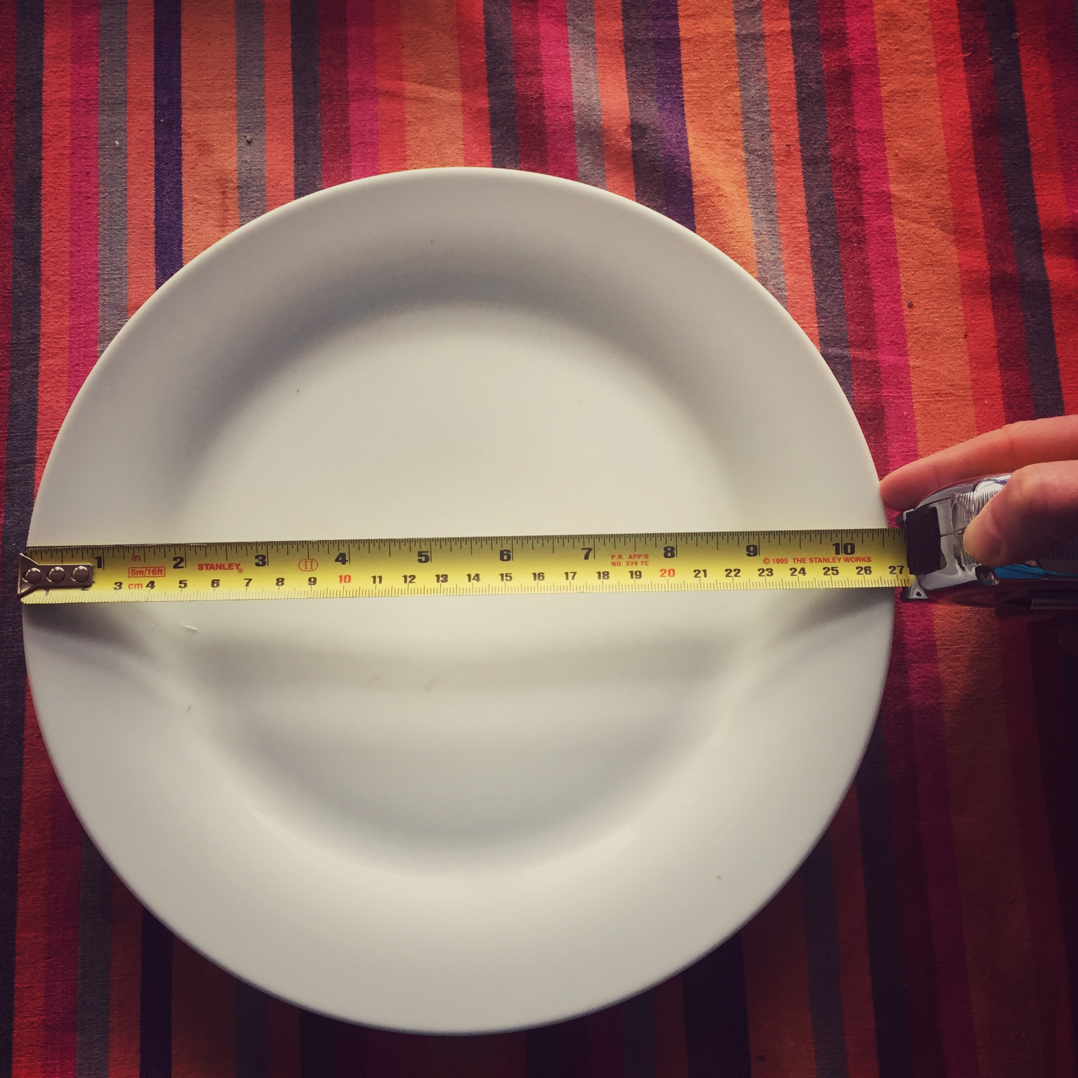 An eatwell plate is approximately 9 inches in diameter, slightly wider than the inner circle of my plates.