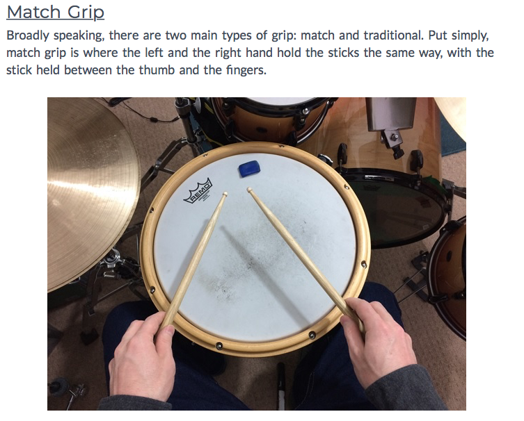 Reminder of how to grip the sticks.