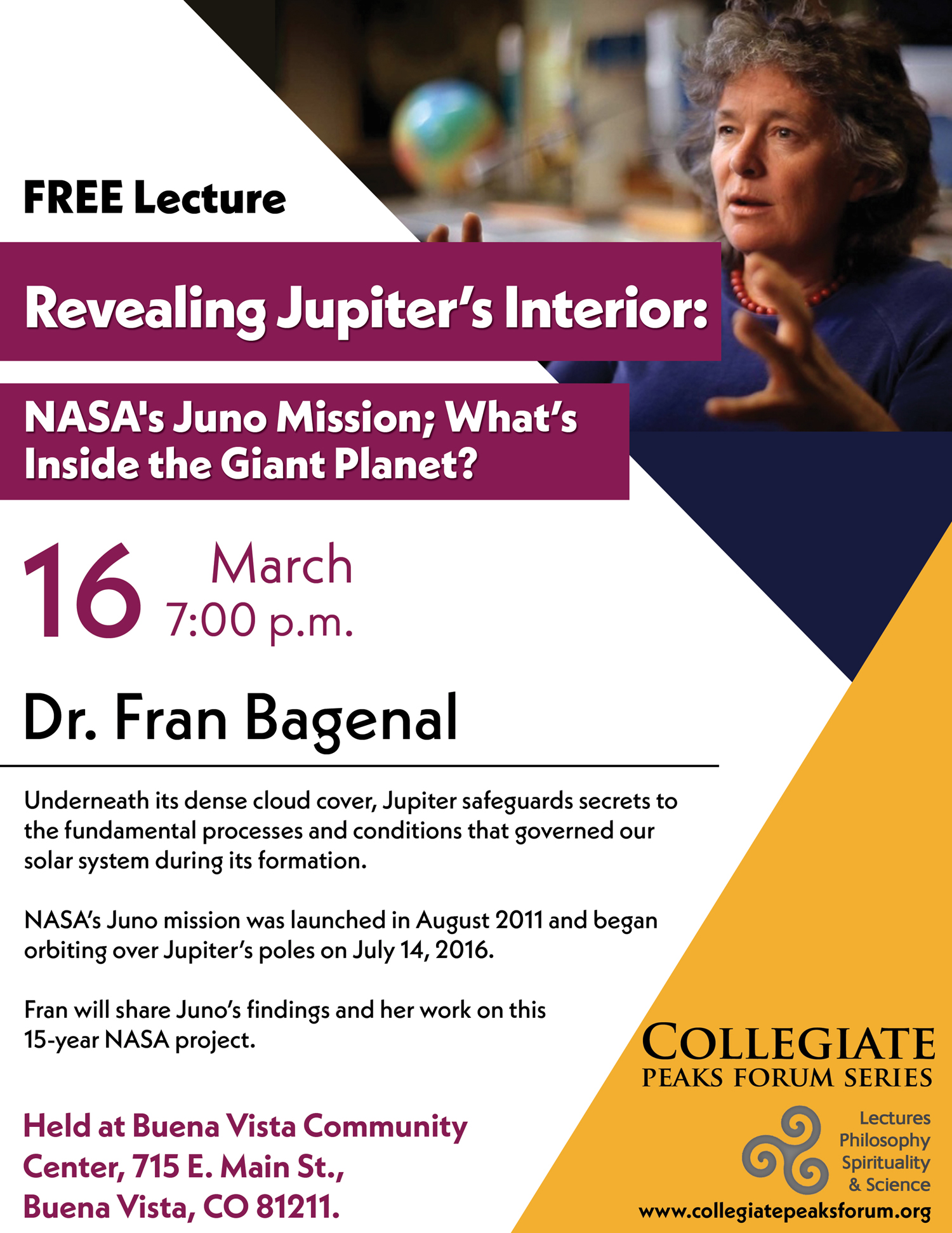 March 16, 2017 Dr. Fran Bagenal