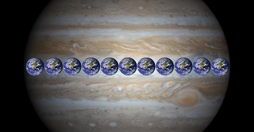 Jupiter - Earth comparison from NASA.