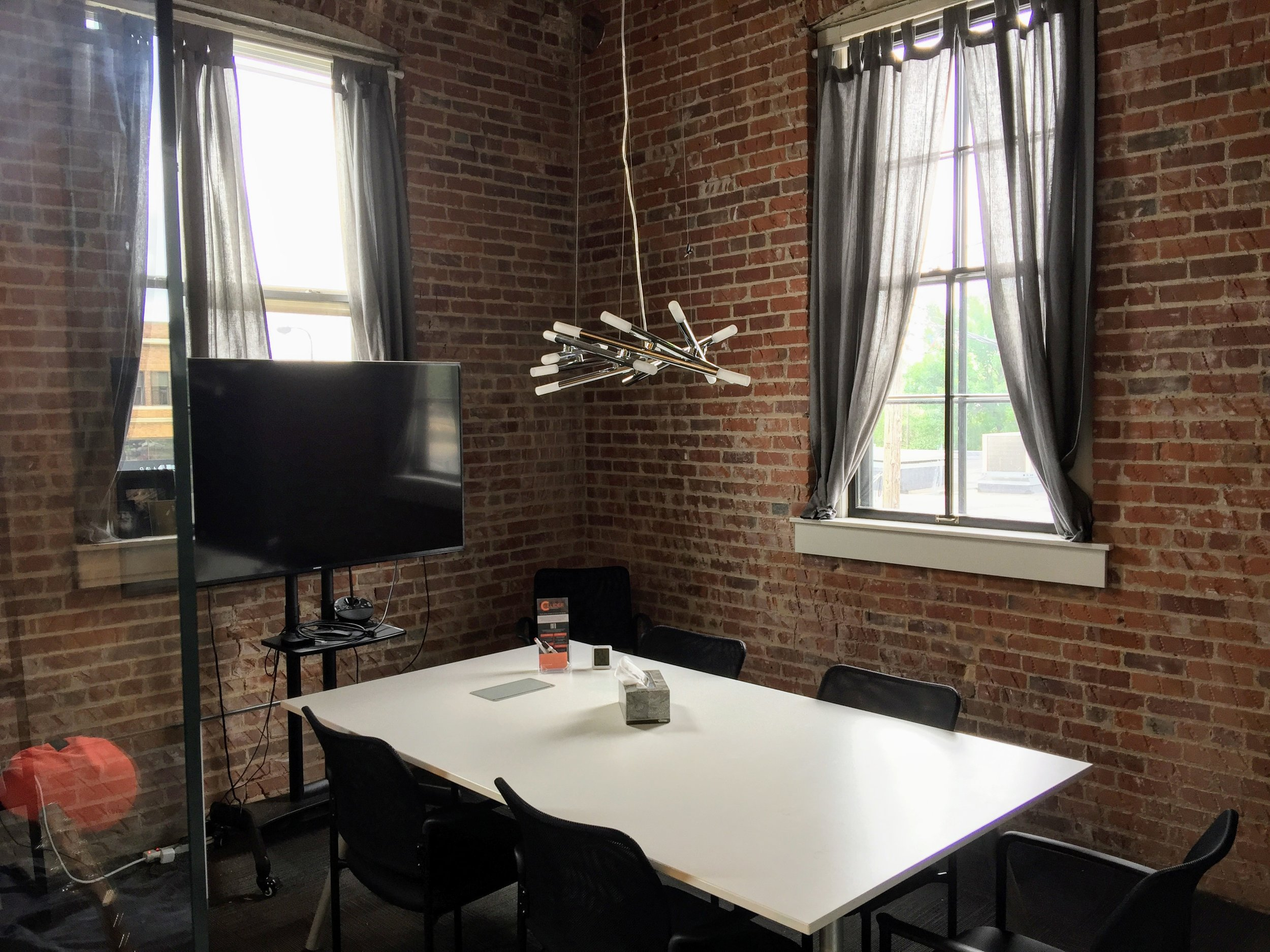 Small Conference Room Rental - $35/hour• Room accommodates up to 6 people• Large HD TV for presentations• Audio and video conferencing equipment available