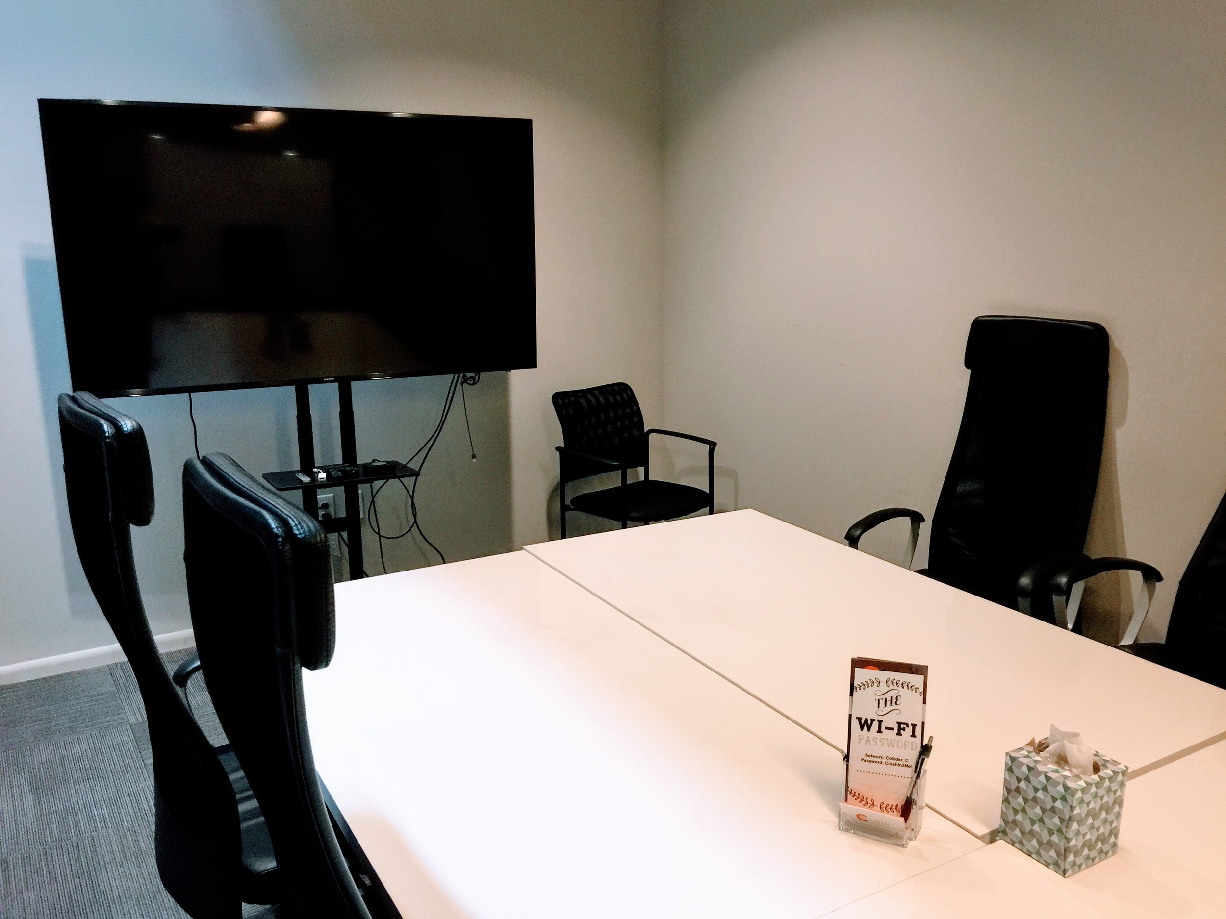 Large Conference Room Rental - $50/hour• Room accommodates up to 12 people• Large HD TV for presentations• Audio and video conferencing equipment available