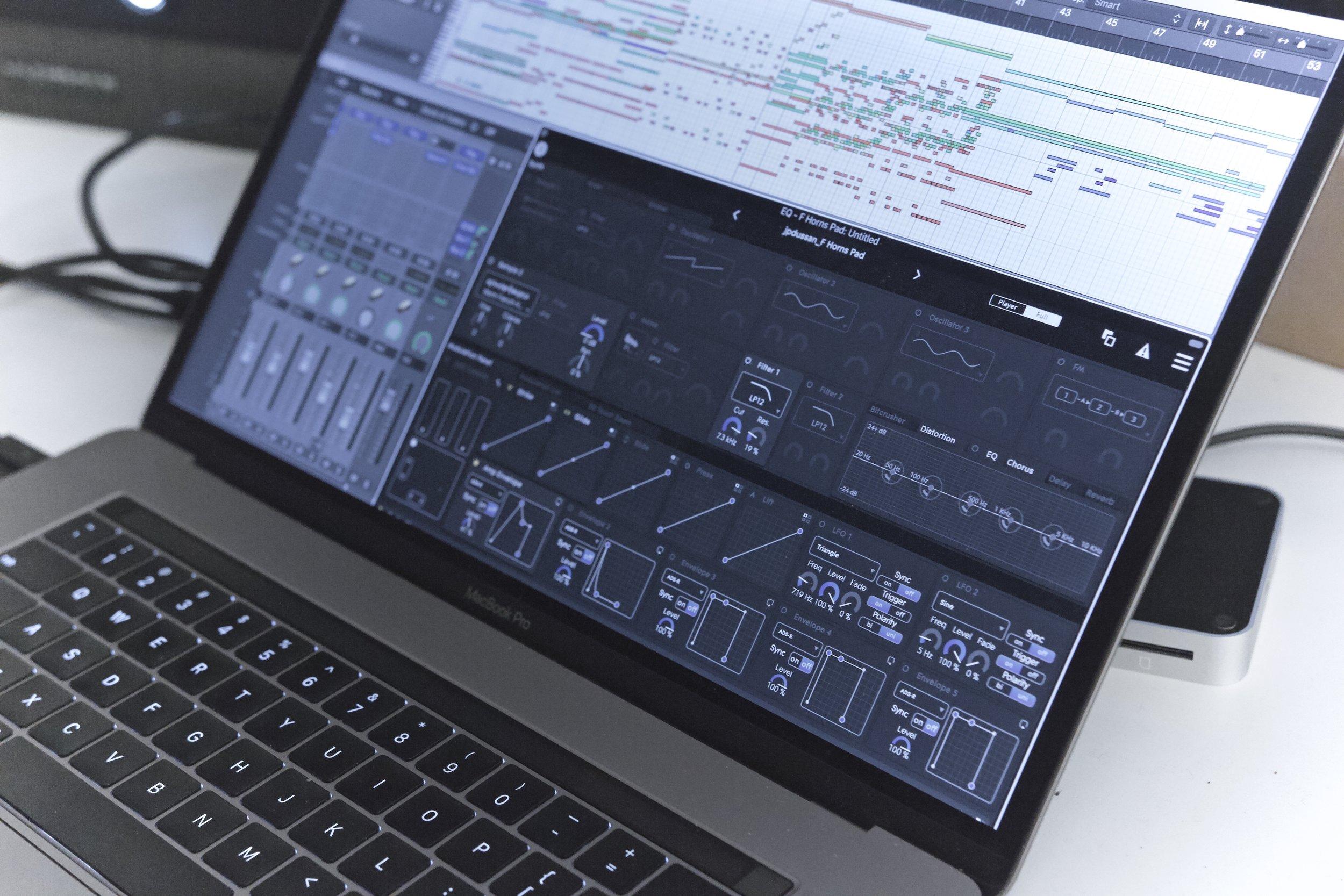 MacBook Pro running  Logic Pro X  with  ROLI Equator  instrument plugin.