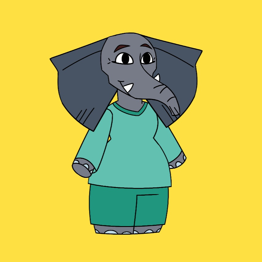 Afi the Elephant - Afi is a motherly nurse with many, many years of experience. She always has something important to say, so be sure to listen up when she is around!