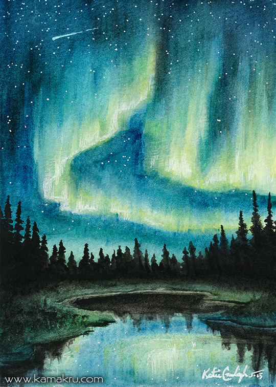 Mini Watercolor - Northern Lights