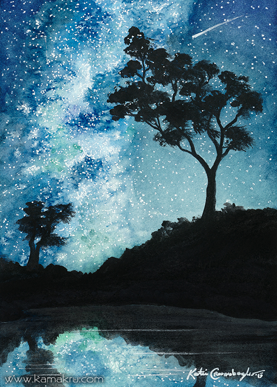 Mini Watercolor - Night Sky 2