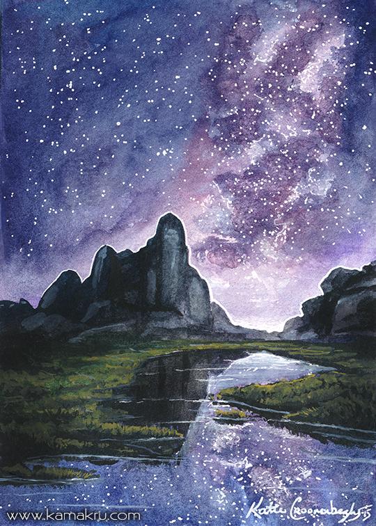 Mini Watercolor - Night Sky 4