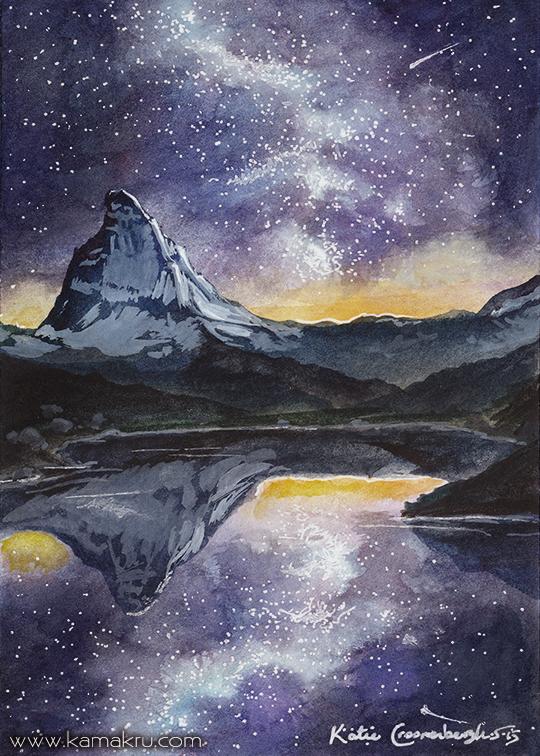 Mini Watercolor - Night Sky 5