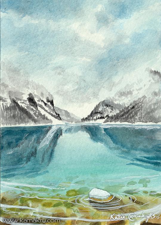 Mini Watercolor - Glacial Lake 1