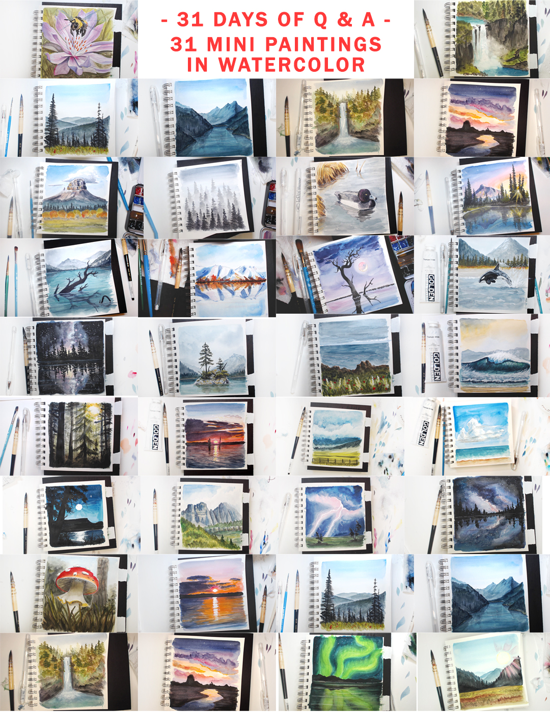 photos of 31 square painting studies of landscapes