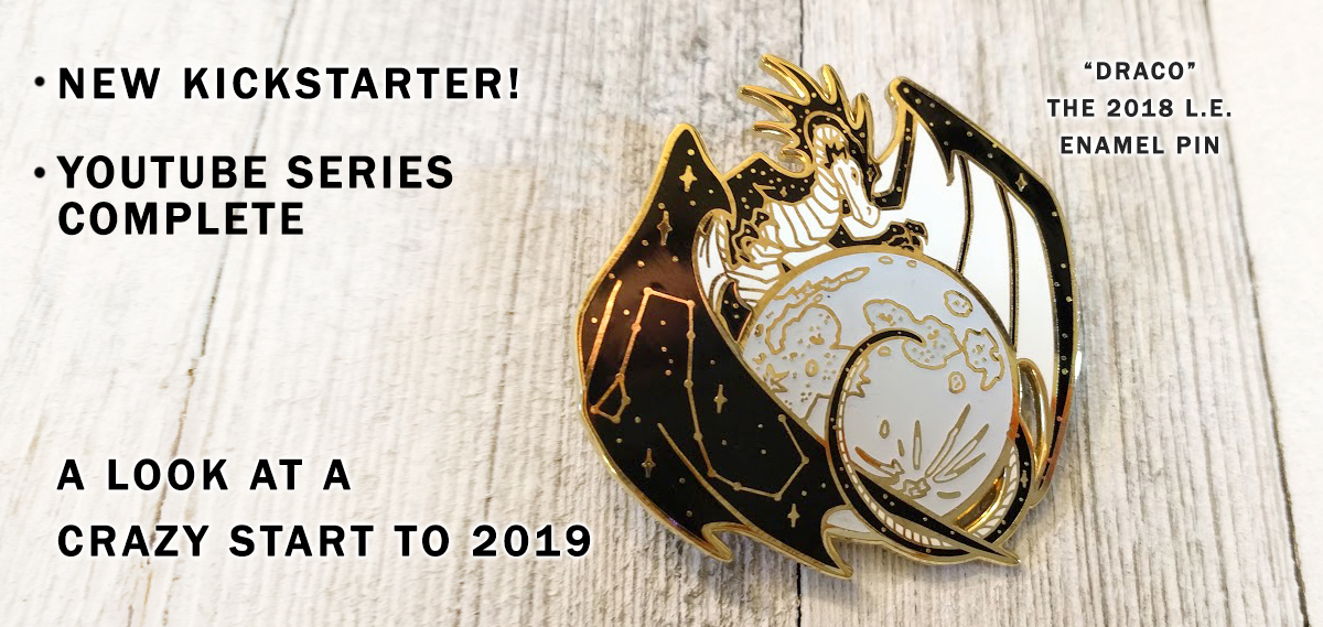 limited edition dragon enamel pin with moon