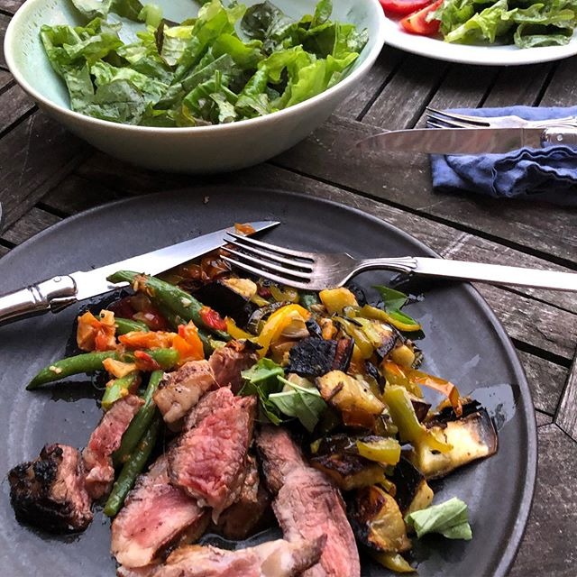 Steak, roasted eggplant and peppers, salad, and green beans with the tomato garlic confit I made last night #summerdinnerheaven