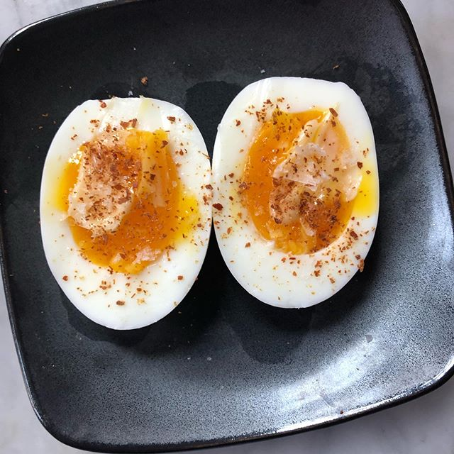 Ok @kenjilopezalt I will from now on steam my eggs. Here: 7.5 minutes, buttered, salted, and Espelette-peppered @nytcooking