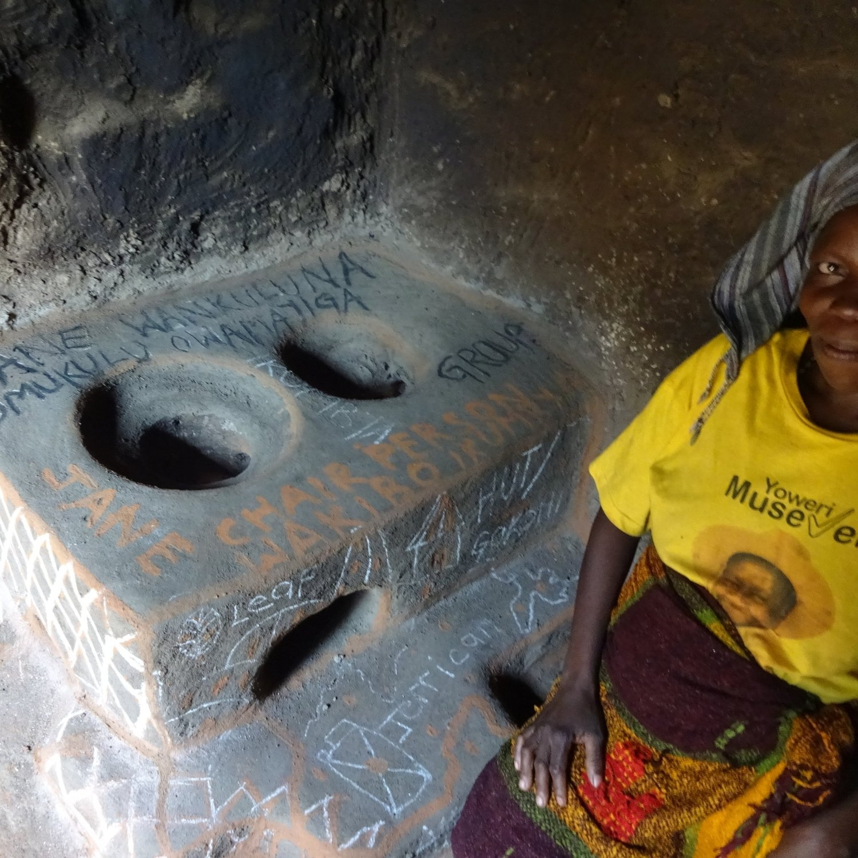 Jane Wankuluna with her new stove.