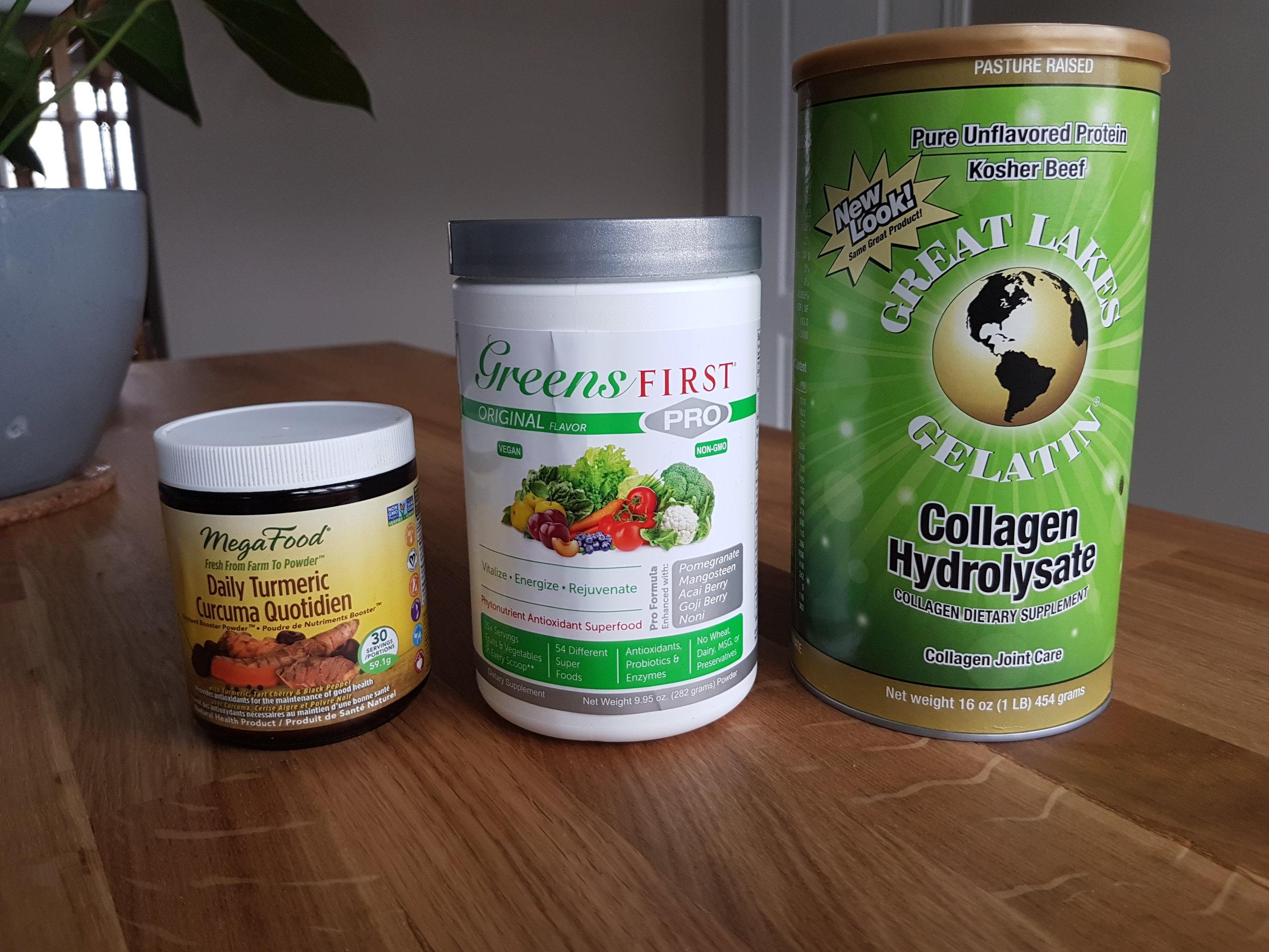 turmeric, greens supplement, hydrolyzed collagen
