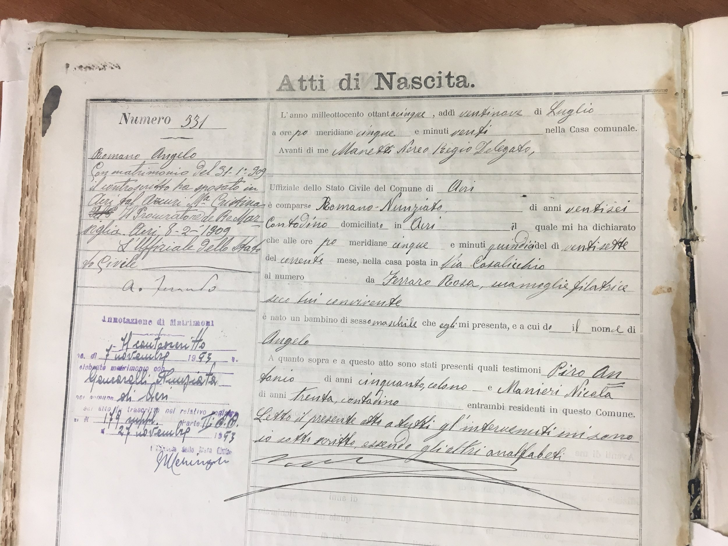 This is the original birth certificate of my great-grandfather, written by hand a couple days after he was born. On the left is written a record of his two marriages. The top is my great-grandmother who died too young, and the bottom is for his second marriage— he went back to his village to find a wife, and married (and brought home) a woman who was younger than him by FORTY-TWO YEARS!! Hard to fathom.
