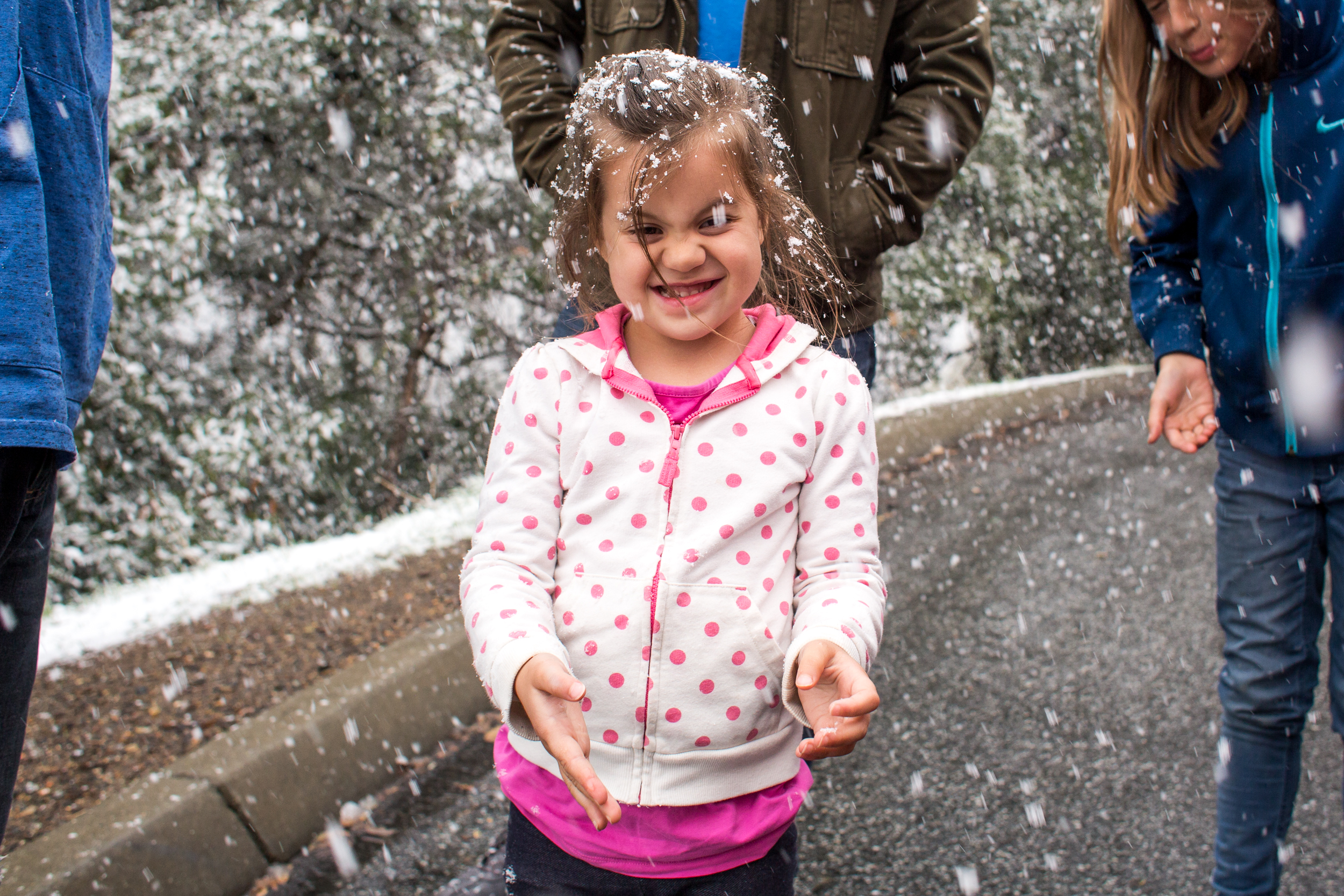 She was mesmerized, I think this may have been the first time she's seen snow coming down.