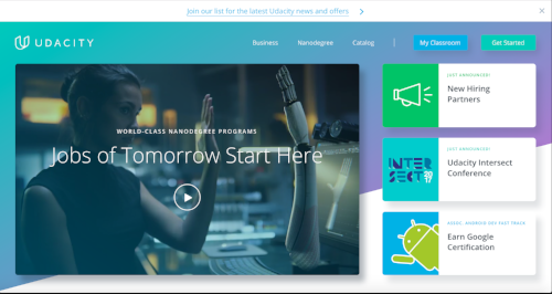 The Udacity home page