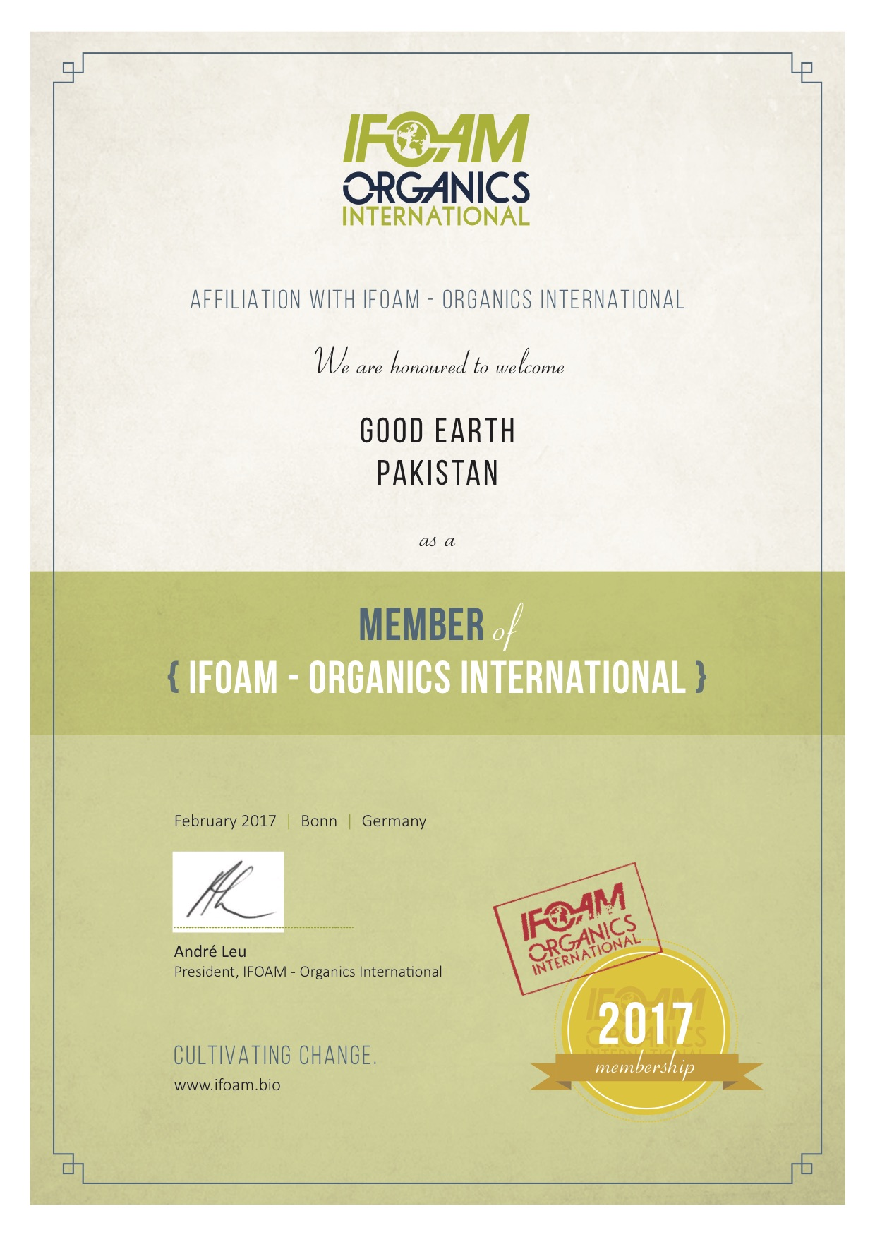 We are proud to be the only current IFOAM member organization from Pakistan.